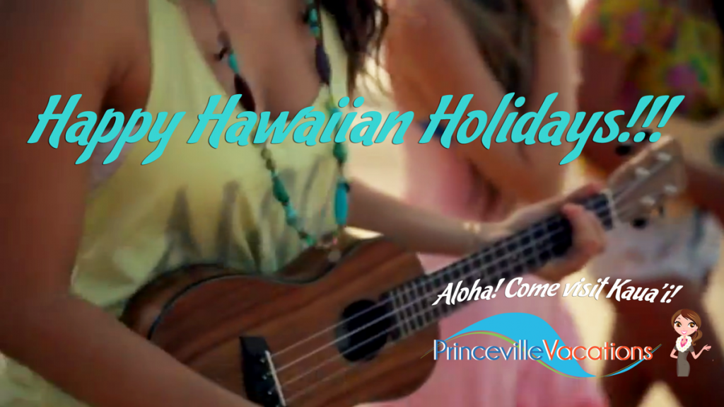 Girls playing hawaiian ukulele happy holidays music on the Beach in Kauai.