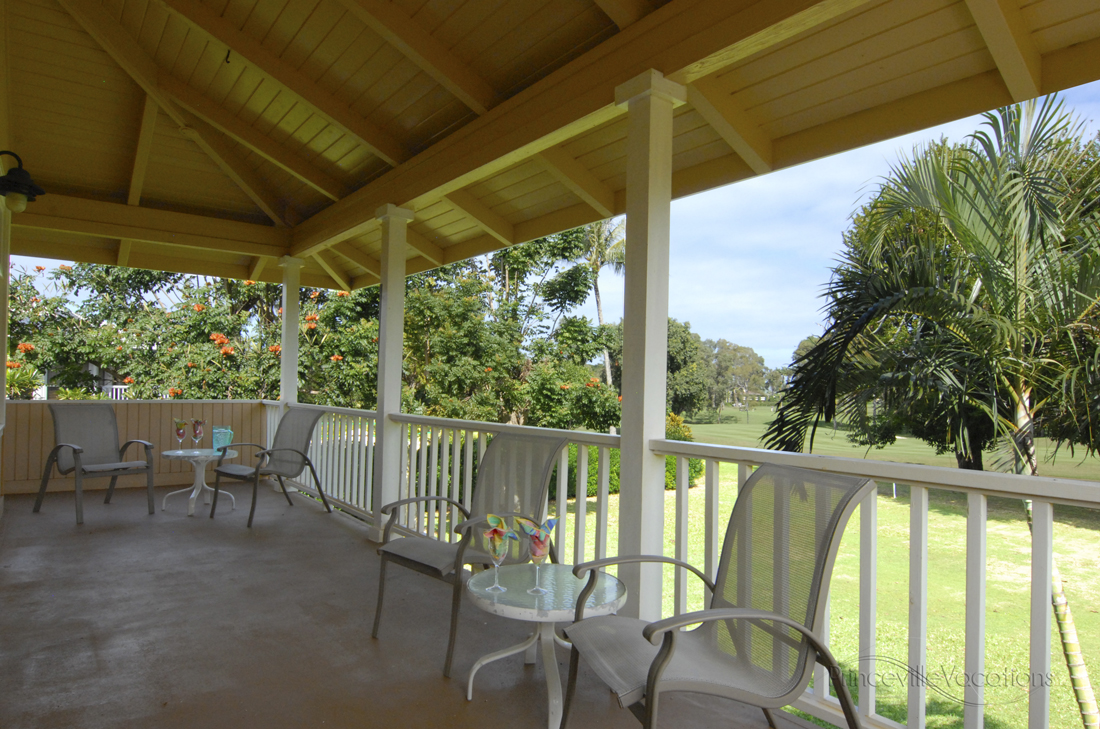 Princeville-Vacations Sunset Wrap-Around Lanai with View of Golf Course